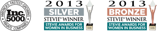 Awards: Inc 5000 America's Fastest-Growing Private Companies, 2013 Silver and Bronze Stevie Awards for Women in Business